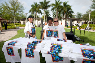 Miami Lighthouse staff eagerly ready to hand out Walk, Waggle & Stroll T-Shirts