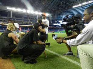 Summer camp student Davonte Pollard taking part in an on-field interview.