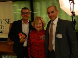 Volunteer Honoree Cesar Giral, M.D., CEO Virginia Jacko and Chairman of the Board Agustin Arellano Jr.