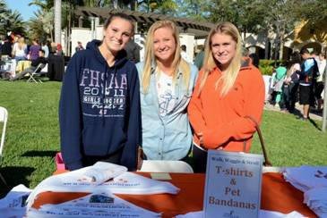 University of Miami Delta Gamma's at t-shirt and bandana table