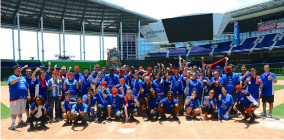 Miami Lighthouse summer camp students and Marlins interns at Marlins Park