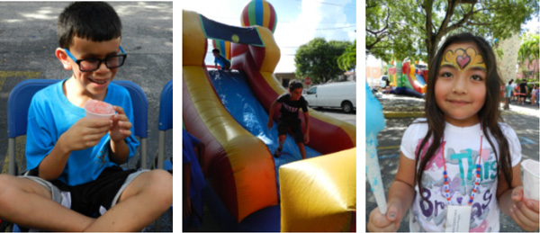 Miami Lighthouse summer campers enjoying snow cones, cotton candy, and a bounce house and slide