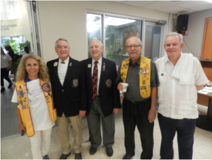 Lion Maria Augusta Pusey, Lion Juan Tejera Immediate Past District Governor 35-N, 2nd Vice District Governor Ildefonso Ortega, Lion Alan Campbell and Lion Martin Murphy.