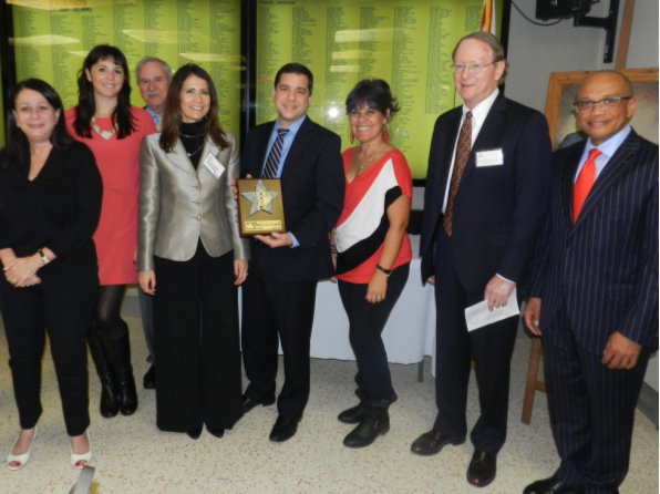 Lauren Fernandez, Esq., Sheila Cesarano, Esq., Antonia Martinez, Jr., Esq., Shutts & Bowen; The Honorable Migna Gonzalez-Llorens; Honoree Rene Gonzalez-Llorens, Esq., Shutts & Bowen; Nelba Gonzalez, Senior Group Health and Activities Coordinator, Miami Lighthouse; David McCrea, Esq. and Francois Henriquez II, Esq., Shutts & Bowen.
