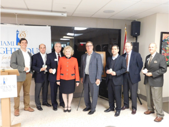 Miami Lighthouse Board Directors (left to right): Pablo Gonzalez, José A. Abrante, Chair Ray Casas, CEO Virginia Jacko, Lou Nostro, Esq., Legal Counsel René J. González-Llorens, Esq., Honorary Director David B. McCrea, and Stephen Morris, O.D.