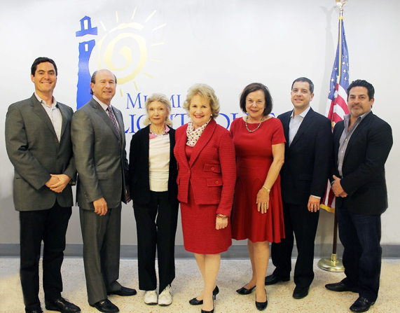 Miami Lighthouse Board Directors (left to right): Pablo Gonzalez, George Foyo, Angela Whitman, CEO Virginia Jacko, Honorary Board Director Audrey Ross, Legal Counsel René J. González-Llorens, Esq., and Alfred Karram Jr.