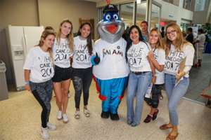 University of Miami Gelta Gamma's pose with Billy the Marlin.