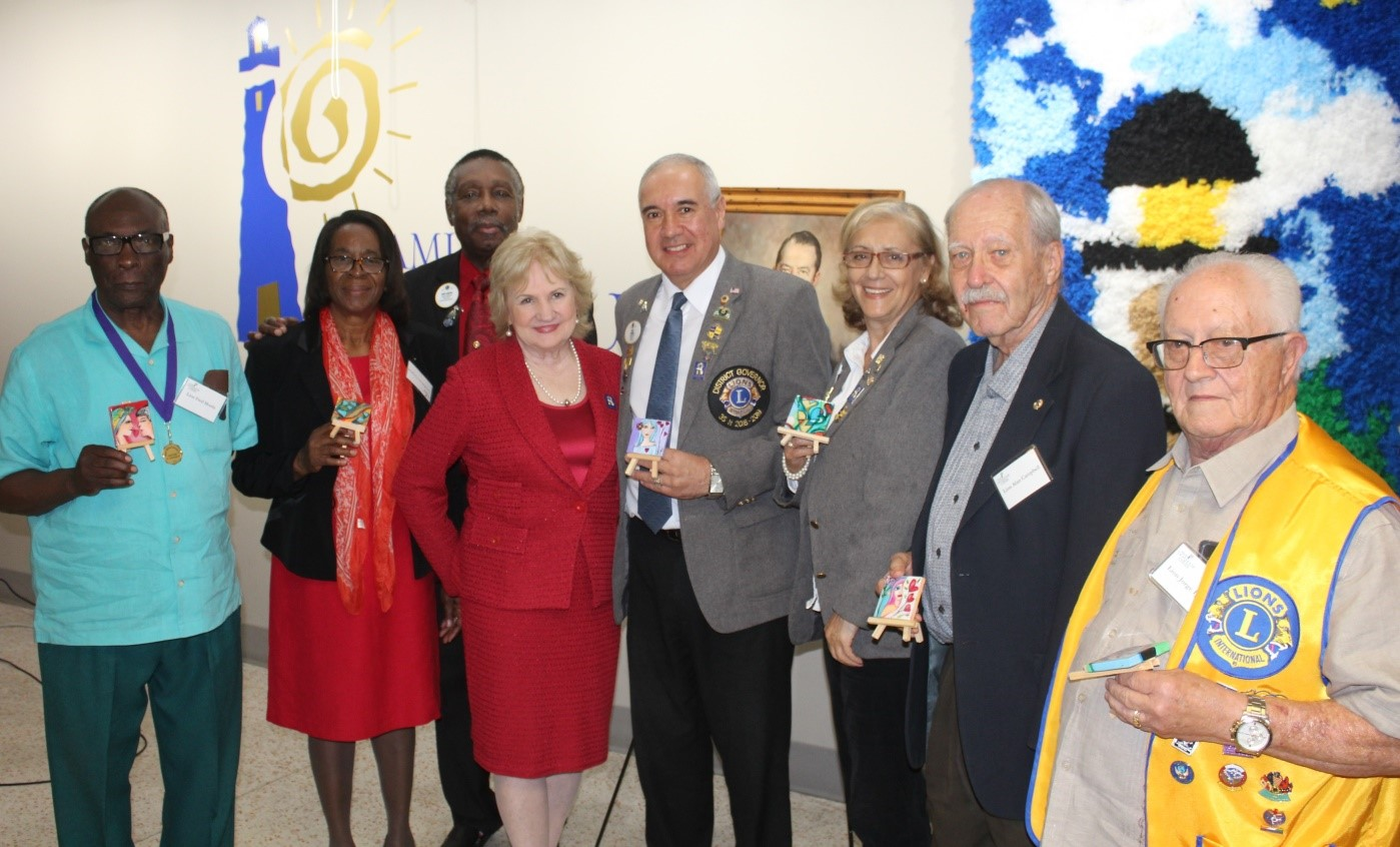 Representatives from District 35-N Lions Clubs: Fred Morris, Jim and Barbara Campbell, CEO Virginia Jacko, District Governor Elbio Gimenez and Rita Gimenez, Alan Campbell and Jorge Iglesias.