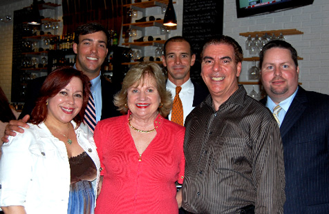 Angelique Euro Café co-owner Yolanda Rossi, YPOL Committee Member Otto Foerster, President and CEO Virginia Jacko, YPOL Co-Chair Agustin Arellano, Jr., Angelique Euro Café co-owner Carlos Rossi, and YPOL Co-Chair Kent Benedict