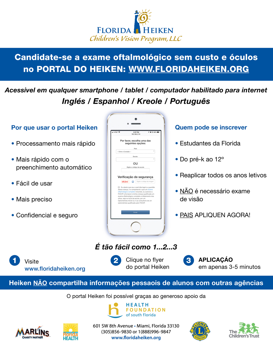 Apply for Free Eye Exam and Glasses - Portuguese