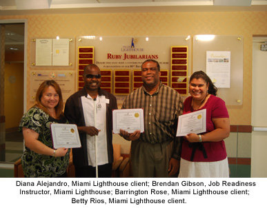 Diana Alejandro, Miami Lighthouse client; Brendan Gibson, Job Readiness Instructor, Miami Lighthouse; Barrington Rose, Miami Lighthouse client; Betty Rios, Miami Lighthouse client.
