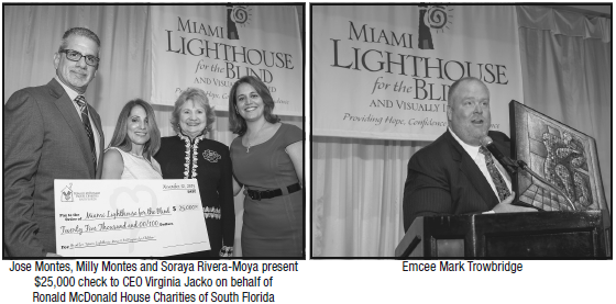 Left: Jose Montes, Milly Montes and Soraya Rivera-Moya present $25,000 check to CEO Virginia Jacko on behalf of Ronald McDonald House Charities of South Florida; Right: Emcee Mark Trowbridge