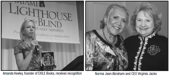 Left: Amanda Keeley, founder of EXILE Books, receives recognition; Right: Norma Jean Abraham and CEO Virginia Jacko