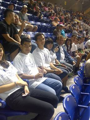 Miami Lighthouse students enjoy the Marlins win.
