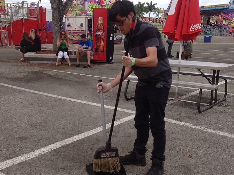 Jose cleaning up the Youth Fair grounds with SFM