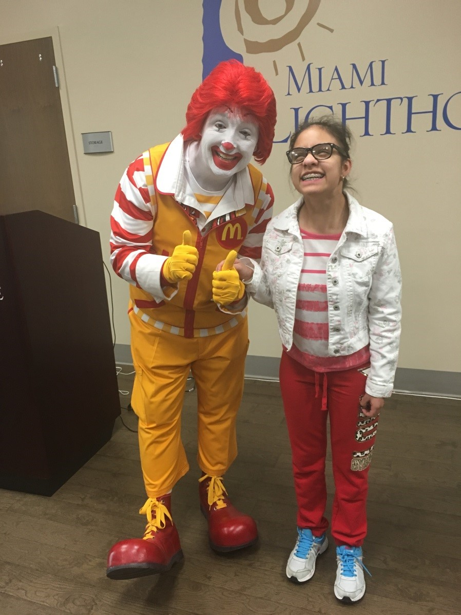Ronald McDonald drops in and Visits teenagers at Miami Lighthouse