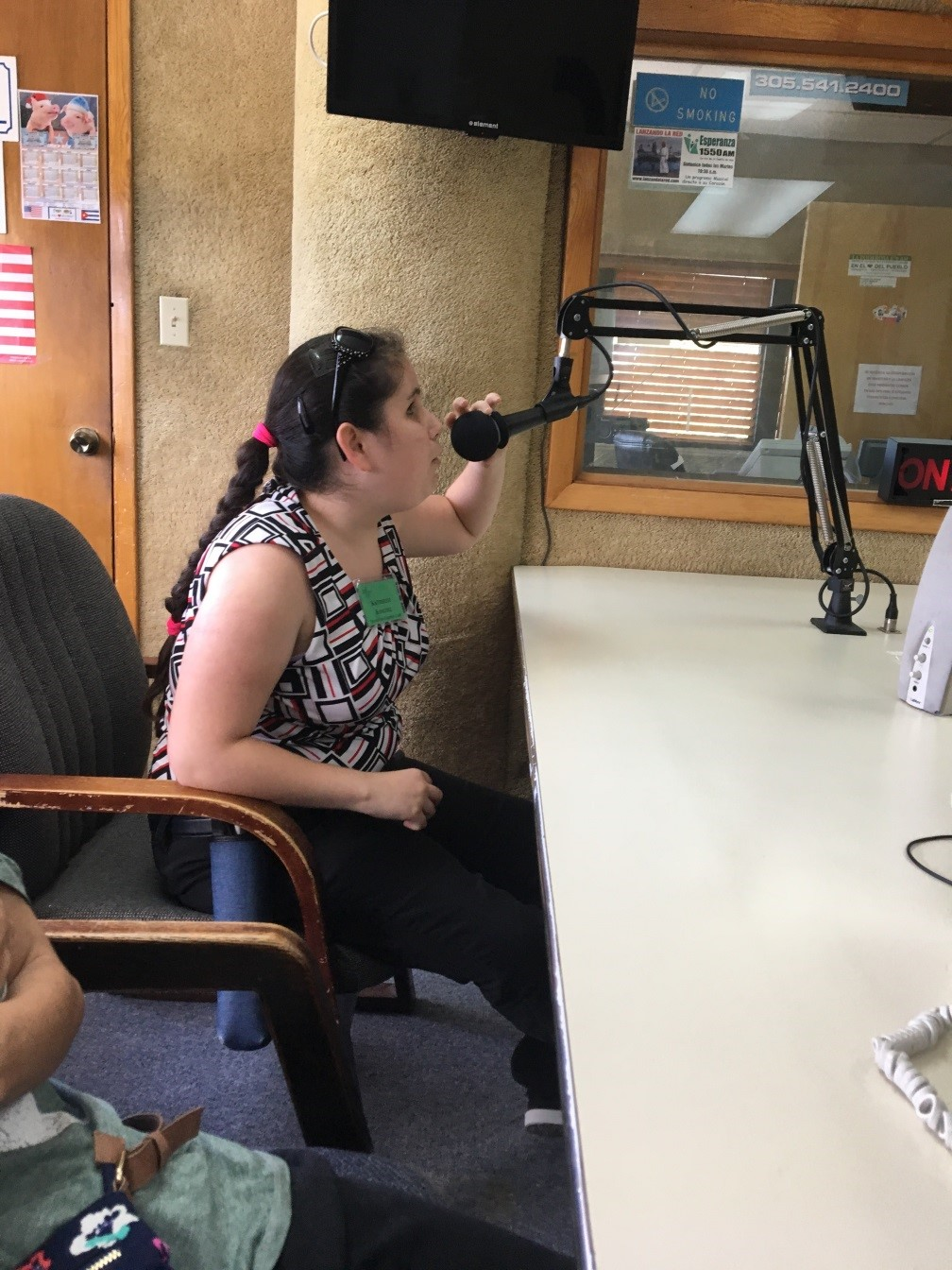 Pre-Employment Transition Services Student Katherine Sanchez on the air at La Poderosa Radio Station