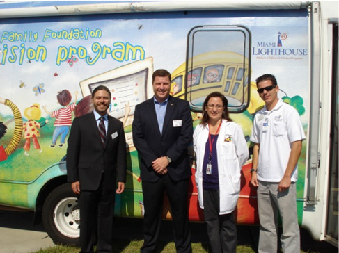 Dr. Bryan Wolynski, Representative Jeff Brandes, Nurse Loraine Leger, RN and Rey Travieso at Shore Acres Elementary in Pinellas County
