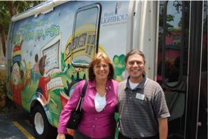 Commissioner Lynda Bell tours Heiken mobile unit with Dr. Bryan Wolynski