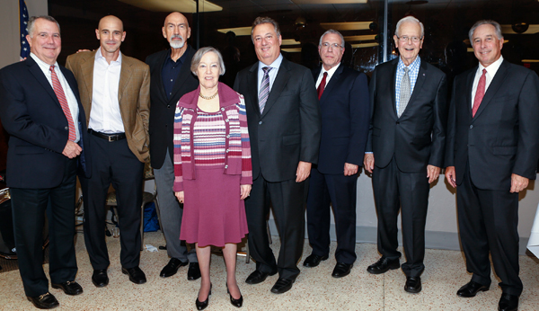 Past Board Chairs at the 2017 Annual Board Meeting. From left to right: Peter R. Harrison, Agustin Arellano, Jr., Charles J. Nielson, Sr., Donna Blaustein, Louis Nostro, Ramón (Ray) Casas, Owen S. Freed and William L. Morrison.